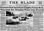On the Sunday after Thanksgiving, 1974, fourteen inches of snow showed up at exactly the wrong time.