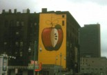 The long forgotten Jefferson Ave. building had a shiny apple painted on its side only a few months before a spectacular April, 1974 fire.