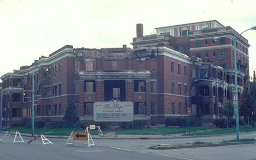The Plaza Hotel after its 1979 fire, courtesy of the Toledo-Lucas County Public Library, obtained from http://images2.toledolibrary.org.