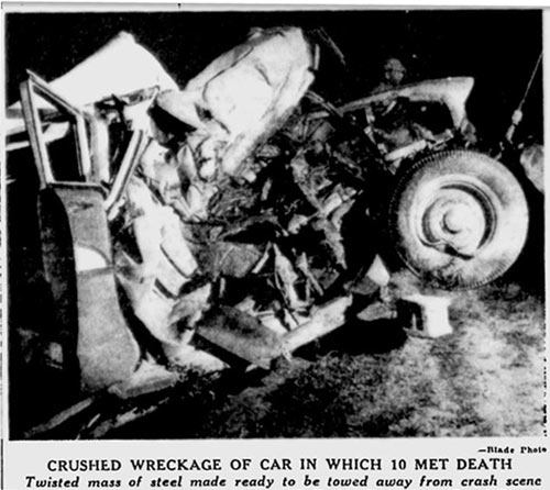A mangled 1957 Chevrolet was all that remained from a July, 1963 accident that killed ten people.
