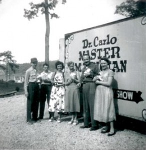 The Cavalcade of Mystery trailer, date unknown. Carlo Sommer is identified as being second from the right.