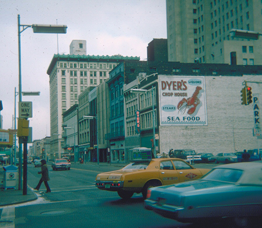 Dyer's Chop house, 1975. We are looking north on Superior from Jefferson. The Wheel restaurant is further down the street. From the Ted J. Ligibel collection, courtesy of the Toledo-Lucas County Public Library, obtained from http://images2.toledolibrary.org/.