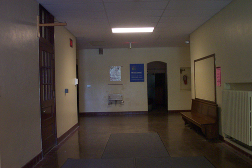 A peek inside the front door of the former Old Orchard School.