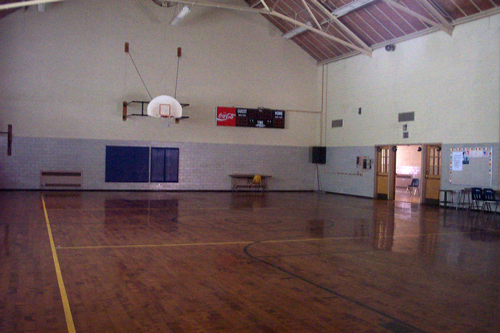 The gymnasium of the former Old Orchard School. Photo by the author, June 2002.