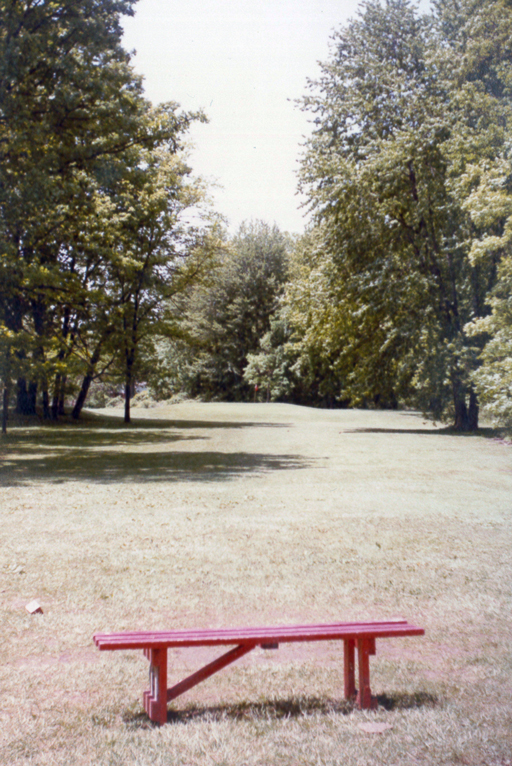 A bench in back of the former Par 3 Golf Course. Photo by the author, 1983. Click for a larger version.