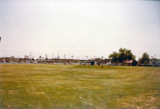 This view is southeast, from the back of the driving range. Photo by the author, 1983. Click for a larger version.