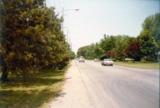 Looking north along Talmadge Road with the former Par 3 golf course on the left. Photo by the author, 1983. Click for a larger version.