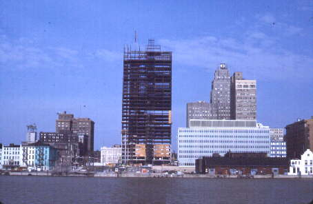 The Fiberglas Tower under construction, circa 1968. Photo by John Vanderlip courtesy of the Toledo-Lucas County Public Library, obtained from http://images2.toledolibrary.org/.